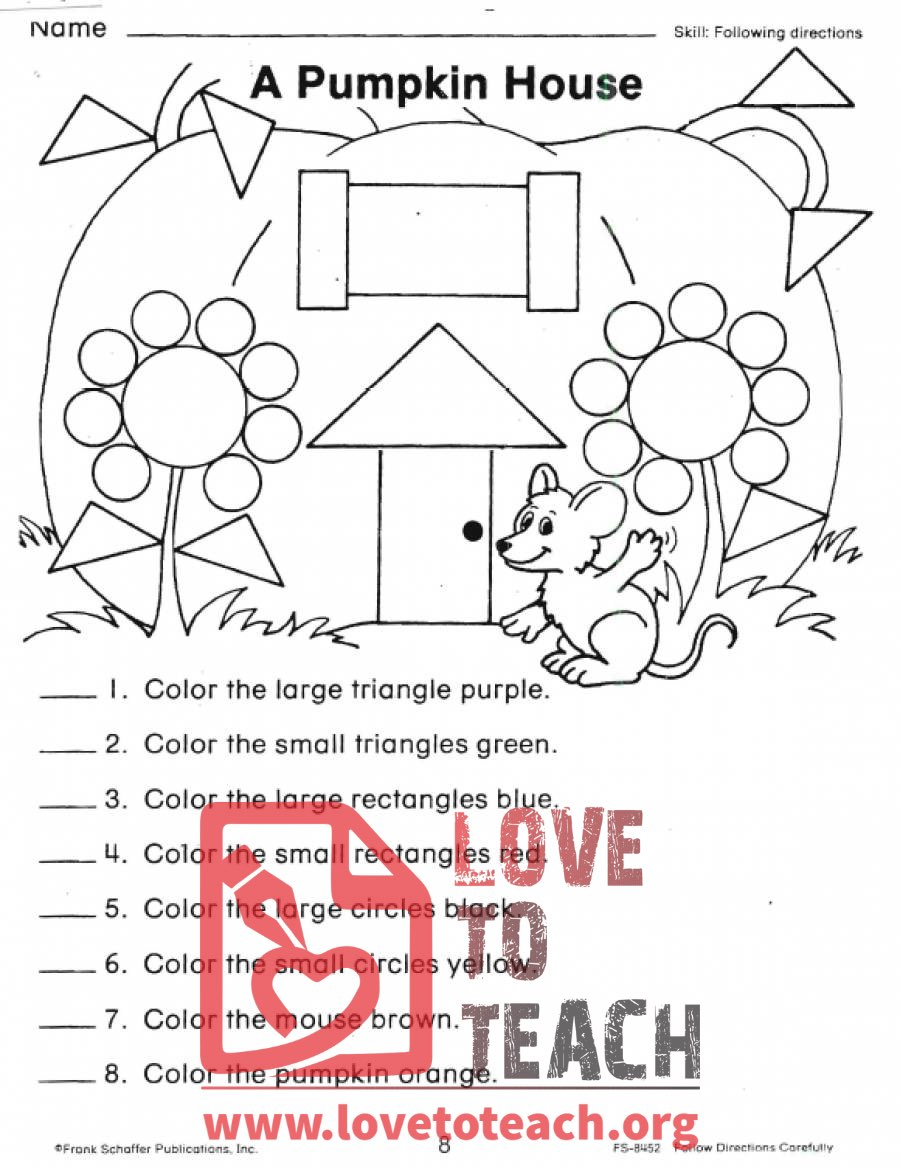 Following Directions Worksheet Kindergarten | galleryhip.com - The ...