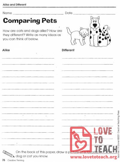 Printables Free Compare And Contrast Worksheets compare and contrast worksheets free printable worksheets