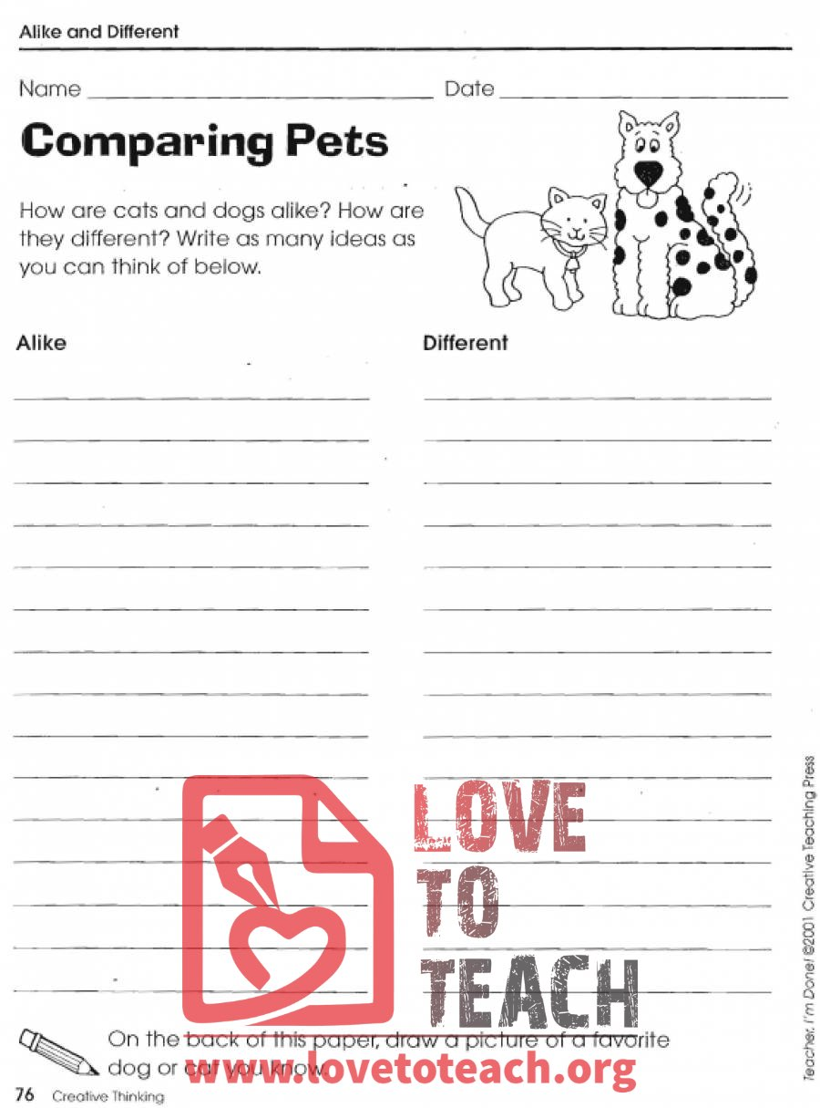 Compare and Contrast Worksheets | Free Printable Worksheets