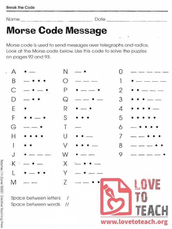 Morse Code Alphabet Printable Pictures - Inspirational Pictures
