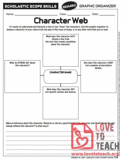 Character Web : LoveToTeach.org : Free Printable Worksheets