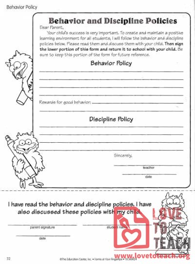 Behavior and Discipline Policies Form