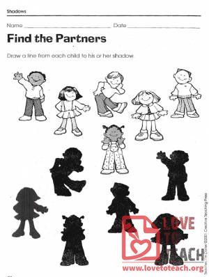 Shadow Matching Worksheets