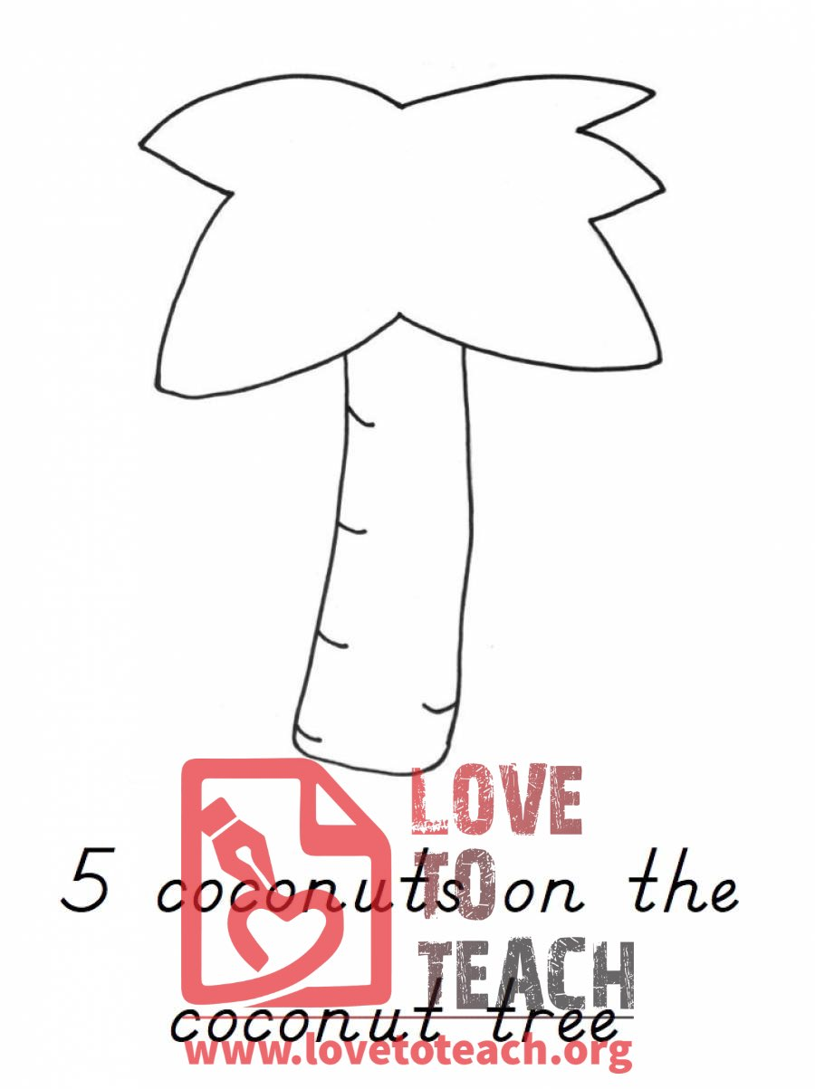 Chicka chicka counting coconuts book free printable for Printable coconut tree template