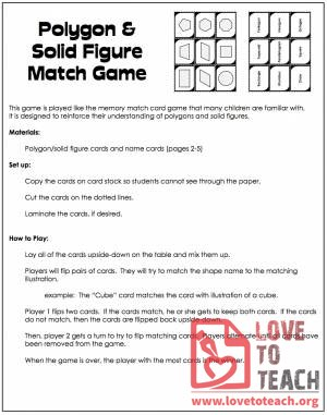 Polygon & Solid Figure Match Game