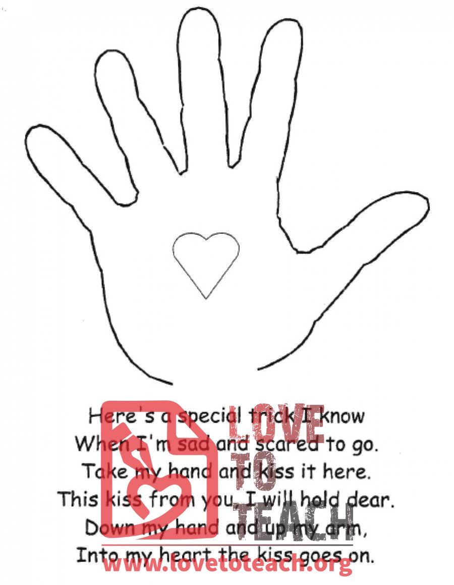 the kissing hand coloring pages - photo#12