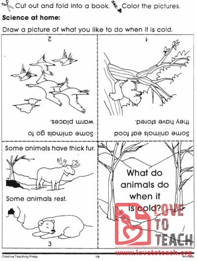 animals in winter book free printable worksheets. Black Bedroom Furniture Sets. Home Design Ideas