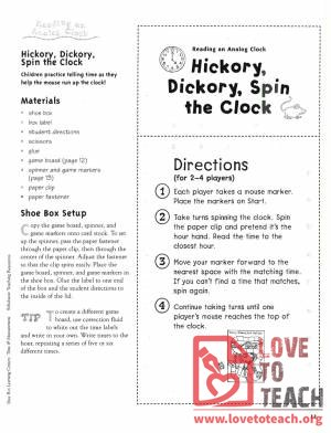 Hickory Dickory Spin the Clock Game