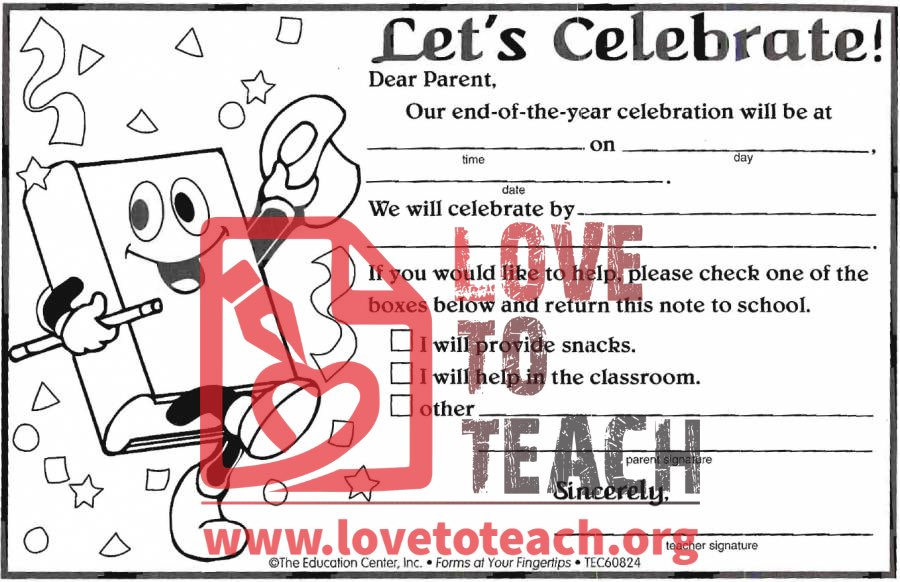 End of Year Celebration Invitations | Free Printable Worksheets