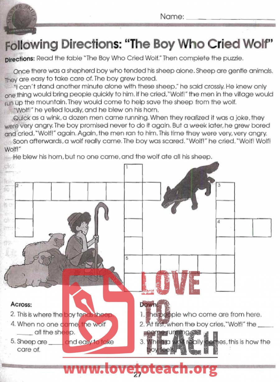 boy who cried wolf cause and effect actvities free printable worksheets. Black Bedroom Furniture Sets. Home Design Ideas