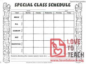 Class Schedule for Specials