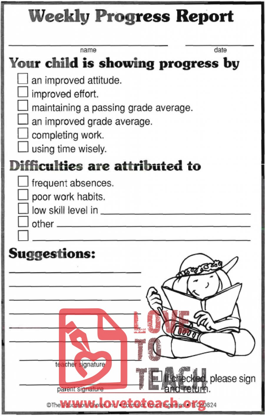 Weekly progress report forms free printable worksheets for First grade progress report template