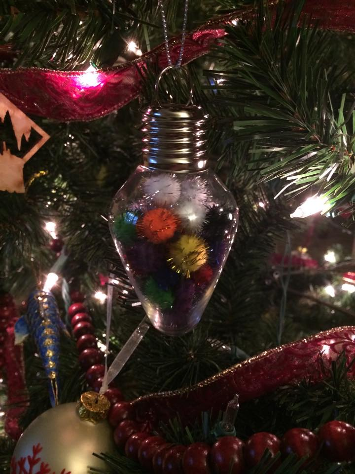 pompom ornament on the tree