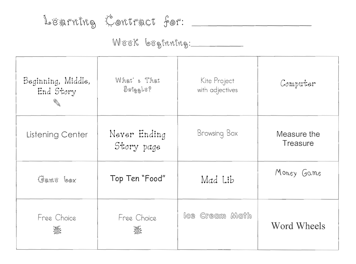 Learning Center Contract Sample
