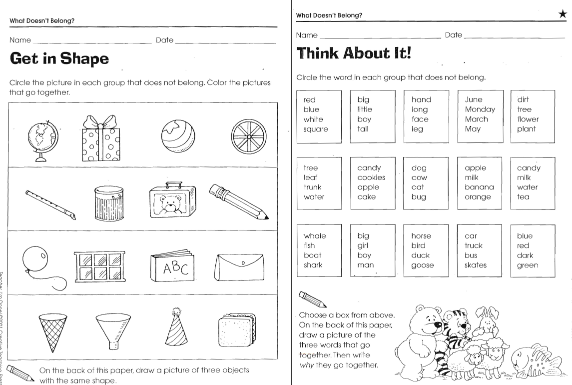 Workbooks visual discrimination worksheets : What Doesn't Belong Worksheets | Free Teaching Resources & Lesson ...