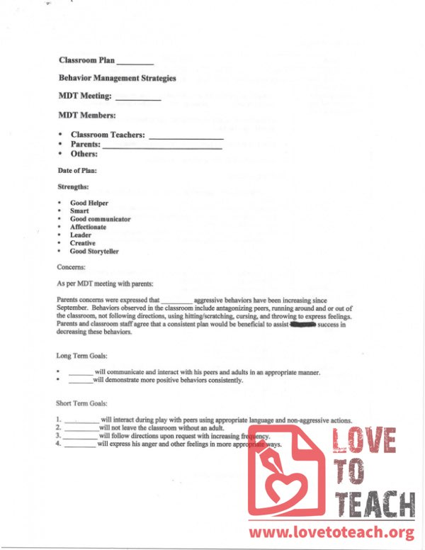 Behavior Management Strategies - Classroom Plan