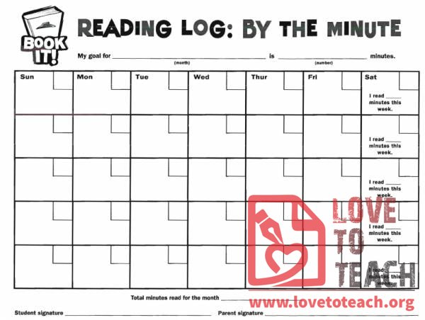 Book It Reading Log By The Minute on Signature Reading Log