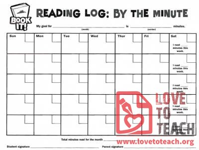 Book It Reading Log: By the Minute