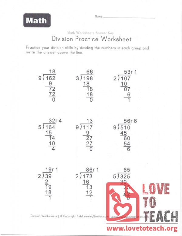 Division Practice Worksheet With Remainder (B) With Answers