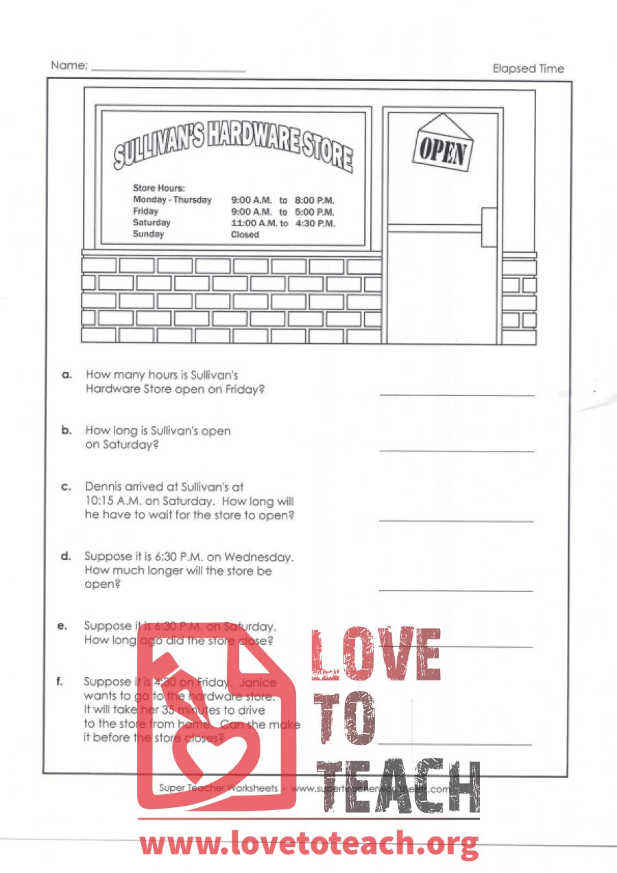 Elapsed Time - Sullivan's Hardware Store (with Answer Key) | LoveToTeach.org