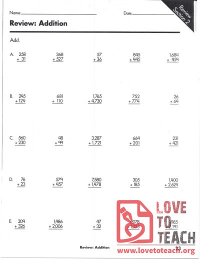 Addition Review Worksheet