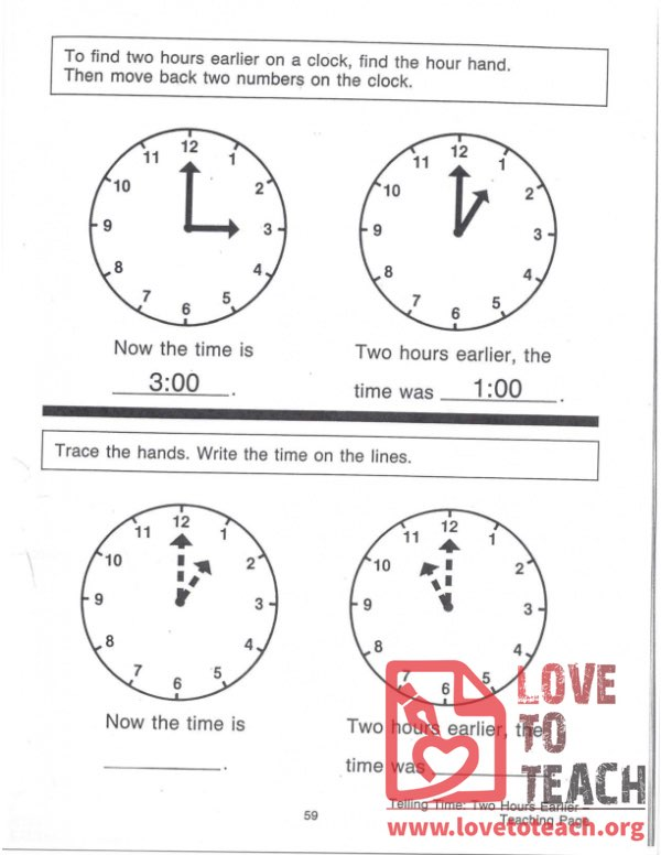 Telling Time - Two Hours Earlier - Teaching Page