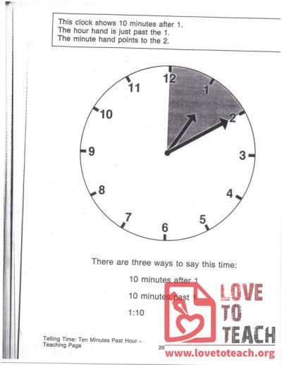 Telling Time - Ten Minutes Past Hour - Teaching Page