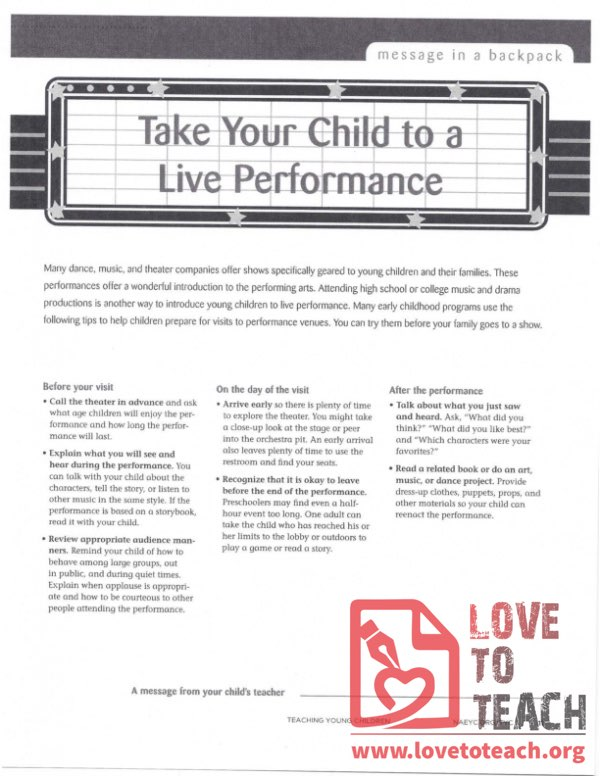Message in a Backpack - Take Your Child to a Live Performance