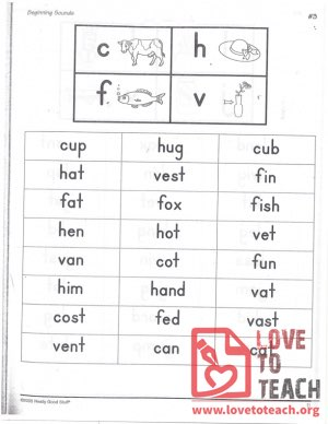 Beginning Sounds - C, H, F, V