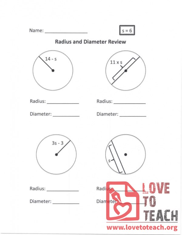 Radius and Diameter Review (B) With Answers