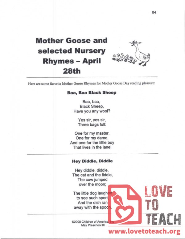 Mother Goose and Selected Nursery Rhymes