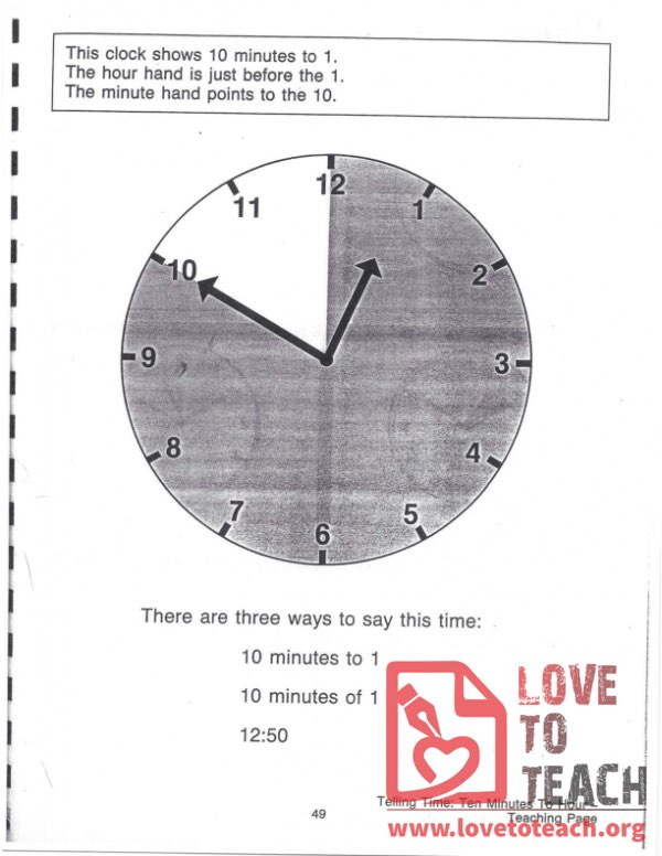 Telling Time - Ten Minutes To Hour - Teaching Page