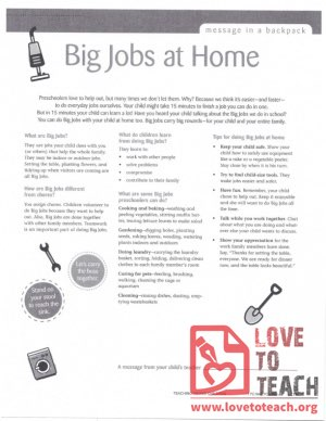 Message in a Backpack - Big Jobs at Home