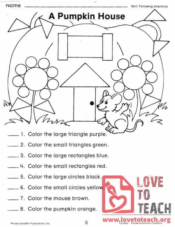A Pumpkin House Shape Worksheet