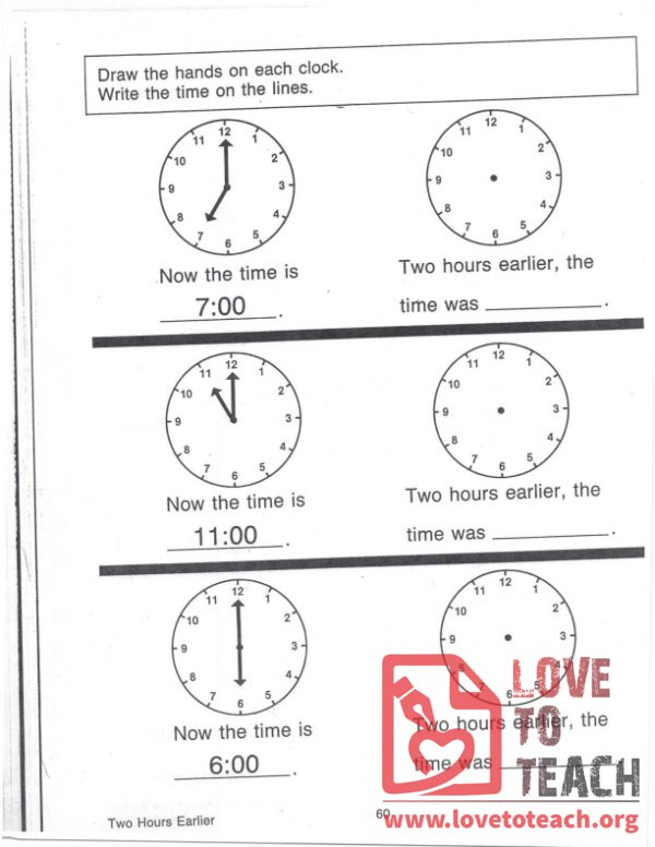Telling Time - Two Hours Earlier
