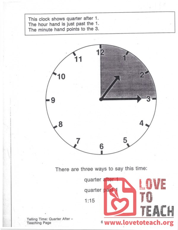 Telling Time - Quarter After - Teaching Page