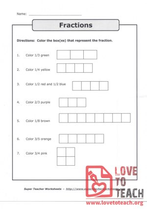 Fractions - (Coloring) (with Answer Key)