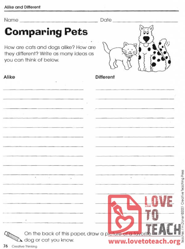 Compare And Contrast Worksheets Lovetoteach