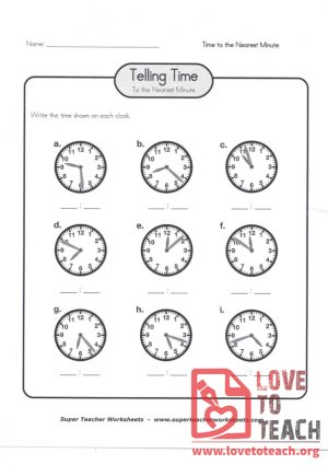 Telling Time to the Nearest Minute (A) (with Answer Key)