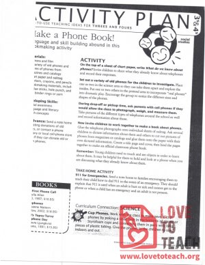 Activity Plan (3s and 4s) Make a Phone Book