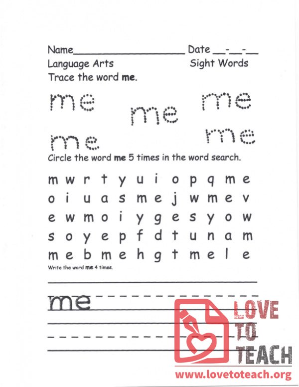 Me - Sight Words