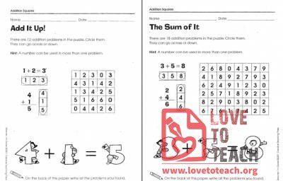 Addition Squares Packet