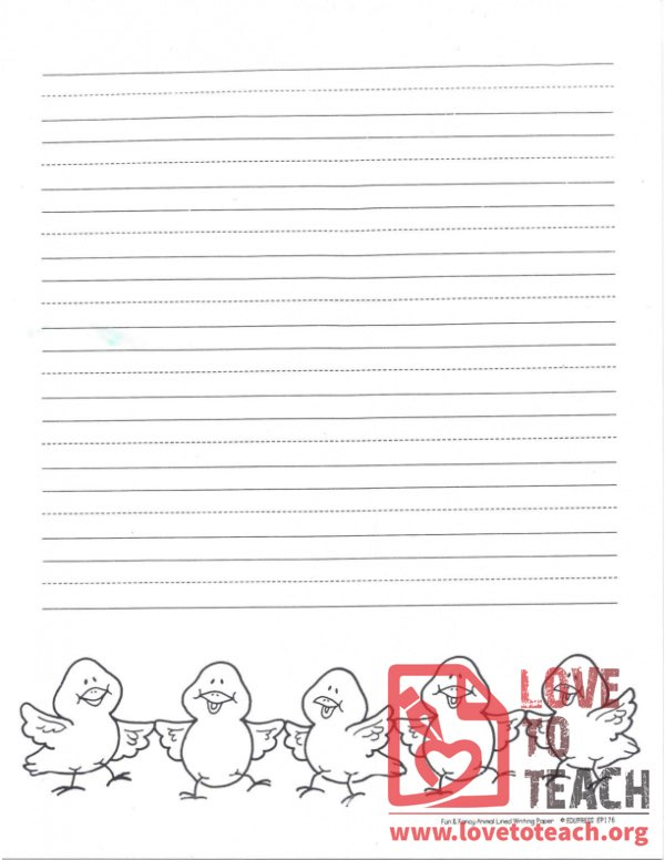 Lined Writing Paper Chicks
