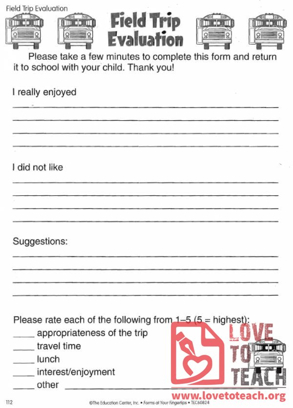 Field Trip Evaluation Form  Free Teaching Resources  Lesson Plans