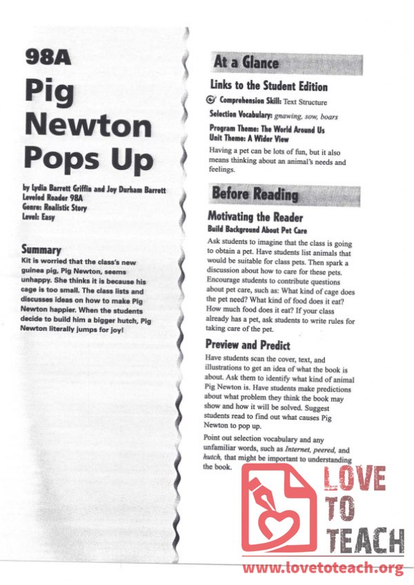 Pig Newton Pops Up - Reading Guide
