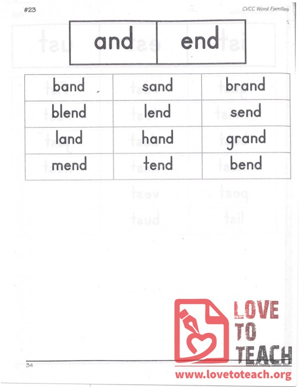 CVCC Word Families - and, end