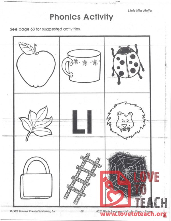 Little Miss Muffet Phonics Activity