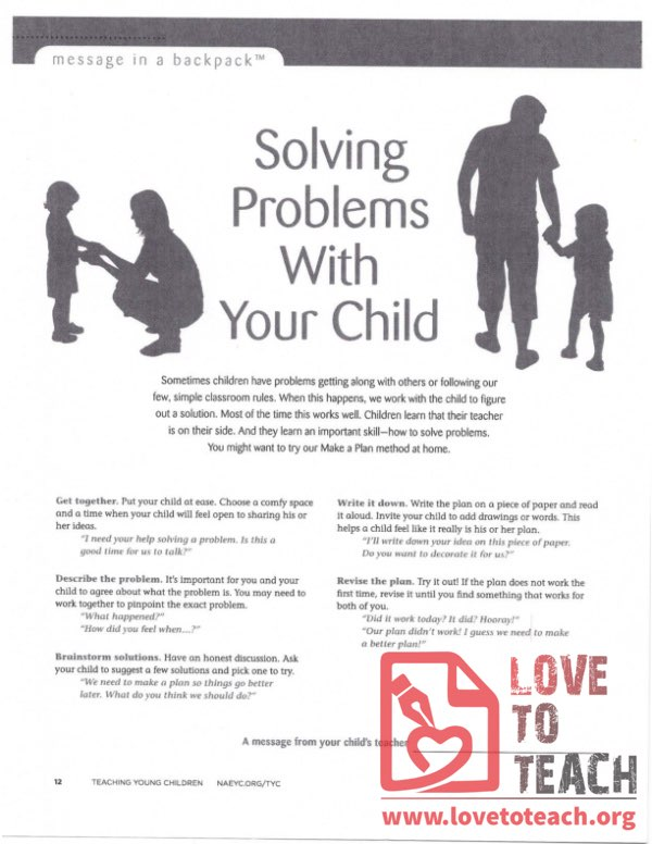 Message in a Backpack - Solving Problems with your Child