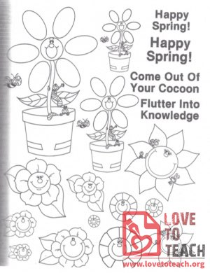 Happy Spring! Flowers Coloring Page
