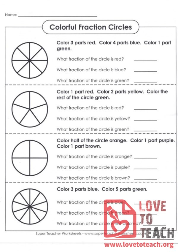 Colorful Fraction Circles (with Answer Key)